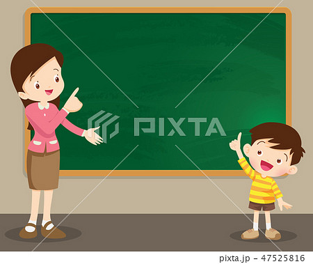 Teacherand studen standing in front of chalkboard 47525816