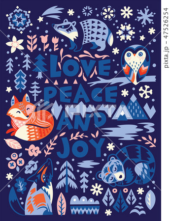 Love, peace and joy. Greeting card in scandinavian style. 47526254
