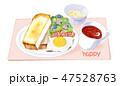 朝食 食パン 食べ物のイラスト 47528763