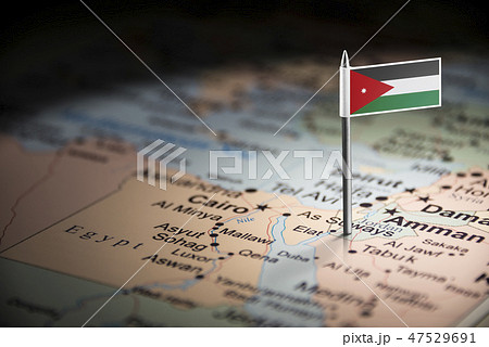 Jordan marked with a flag on the map 47529691