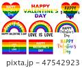 Valentine's day cards, rainbow flag, lgbt, vector 47542923