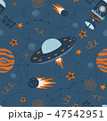 Vector seamless doodle illustration on the theme of space travel and adventure 47542951