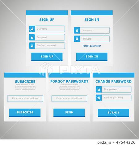 Modern vector flat website design UI kit 47544320