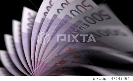 Flipping five hundred euro notes, close-up. 3D rendering 47545464
