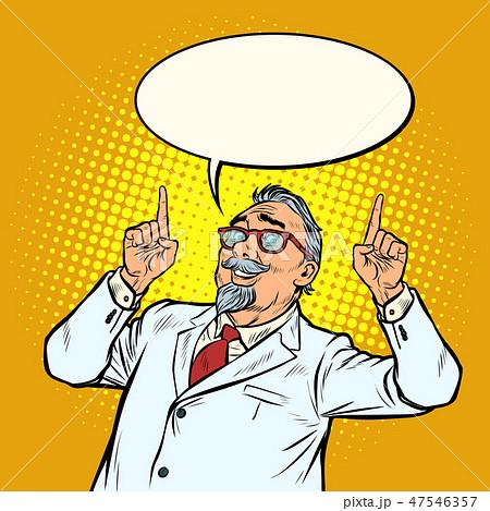 elderly doctor scientist smile index finger up gesture 47546357