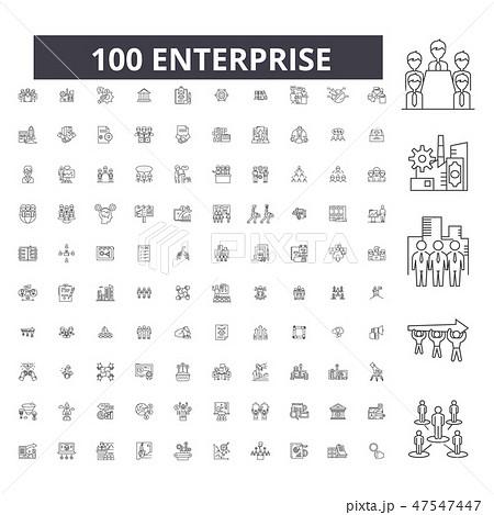Enterprise editable line icons, 100 vector set, collection. Enterprise black outline illustrations 47547447