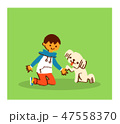 お手をする犬と男の子 47558370