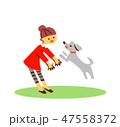 犬と遊ぶ女の子2 47558372