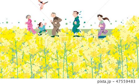 菜の花, ランニング, 家族, 春, 花, 黄色, ジョギング, マラソン, 菜の花畑, 3月, ファミリーイラスト, イラスト, ベクター, 白バック, コピースペース, 人物, 走る, 運動, 自然, 健康, 風景, 満開, 花びら, 花畑, 子供, 男性, 夫婦, 母親, 明るい, 素材