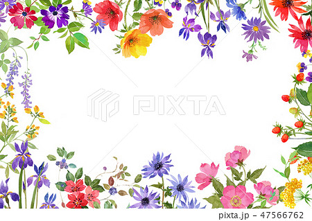花フレームのイラスト素材 47566762 Pixta