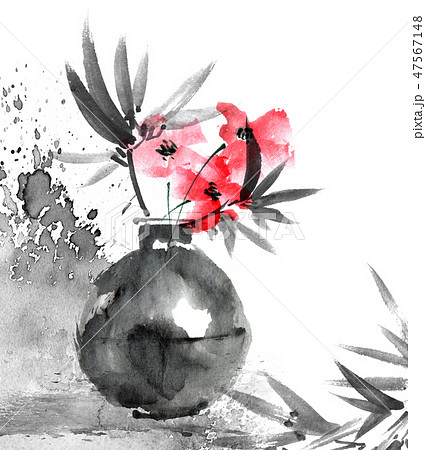 Watercolor painted still life with flower in vase 47567148