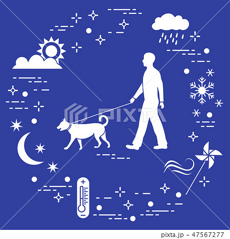 Man walking a dog on a leash in any weather 47567277