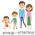家族 4人家族 親子のイラスト 47567910