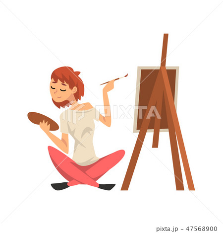 Male Artist Drawing Picture with Brush on Easel, Guy Spending Weekend at Home and Relaxing, Rest at 47568900