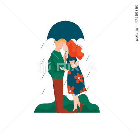 Young Man and Woman Embracing and Kissing under Umbrella, Romantic Couple Walking in Rain, Happy 47569366