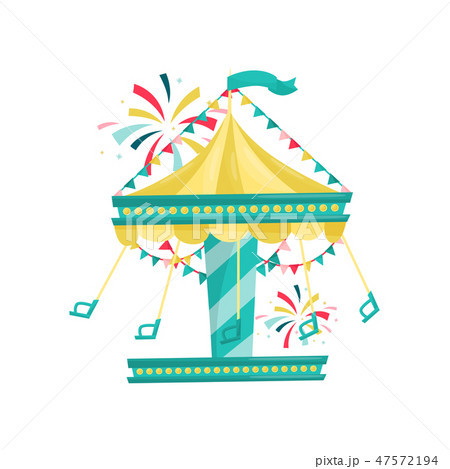 Swinging carousel with chairs decorated with bunting flags. Amusement park. Funfair attraction. Flat 47572194