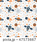 Hand drawing vector illustration on the theme of space travel. Seamless doodle pattern. 47573667