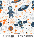 Vector illustration on the theme of space travel and adventure. Hand drawing seamless doodle pattern 47573669