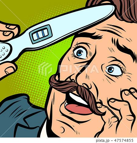 pregnancy test. joyful moustached man husband father 47574855