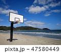 ビーチのバスケットボールのゴール 47580449