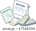 お薬手帳と薬袋と飲み薬 47588394