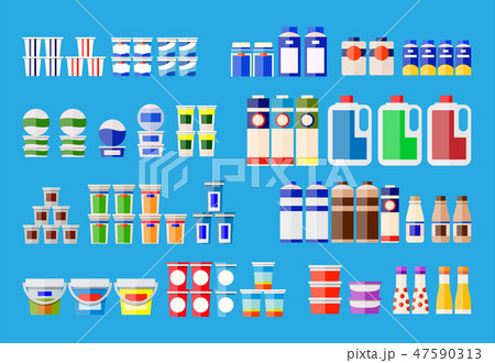 Milk products in various packages. 47590313