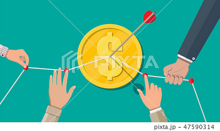 Hand of businessman pointing to arrow from coin 47590314