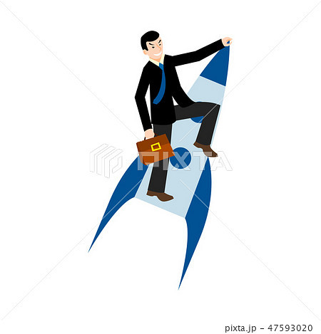 businessman flying on a rocket 47593020