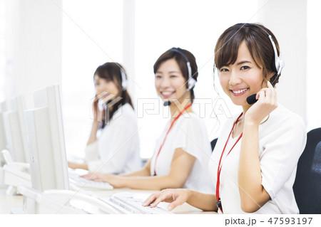 オペレーター コールセンター テレアポ ビジネス パソコン サポートデスク 47593197