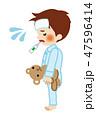 男の子 体温計 検温のイラスト 47596414