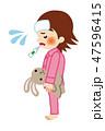 女の子 体温計 検温のイラスト 47596415