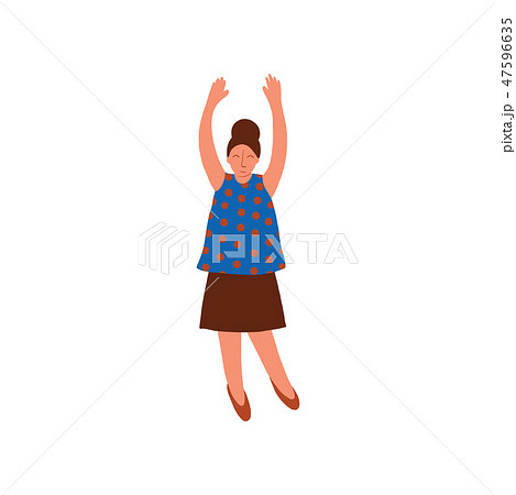 Young Woman Wearing Blouse and Skirt Standing with Her Hands Raised Vector Illustration 47596635