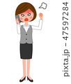激怒 ビジネスウーマン 電話のイラスト 47597284