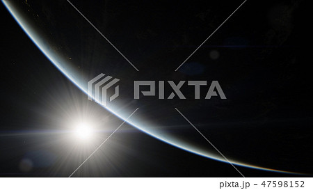 Near, low earth orbit blue planet. this image elements furnished by NASA 47598152