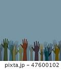 Earth tone color diverse raised hands vector 47600102