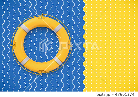 3d rendering of a bright yellow life buoy lying on a contrast background symbolizing waves and sand. 47601374