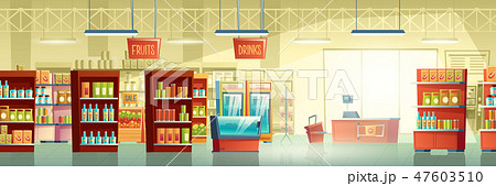 Supermarket trading room carton vector interior 47603510
