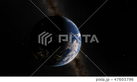 Near, low earth orbit blue planet. this image elements furnished by NASA 47603796