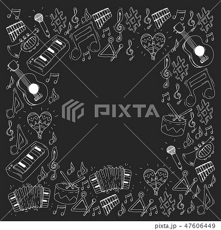 Music background for patterns. Vector illustration with musical instruments. 47606449