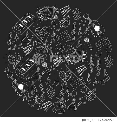 Music background for patterns. Vector illustration with musical instruments. 47606451