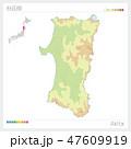 秋田県の地図(等高線・色分け) 47609919