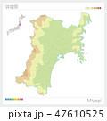 宮城県の地図(等高線・色分け) 47610525