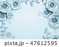 青 背景 お花のイラスト 47612595