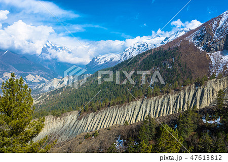 A large landslide on the mountain slope  47613812