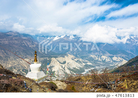 Stone stupa near the cave of Milarepa, Nepal. 47613813