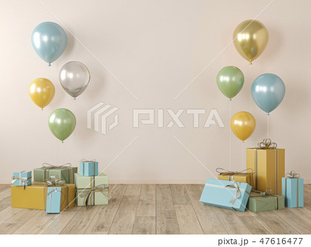 Beige, yellow blank wall, colorful interior with gifts, balloons for party, birthday, events. 47616477
