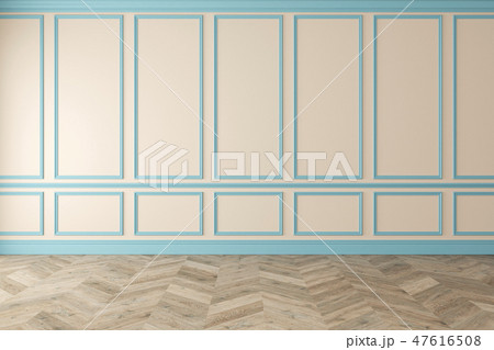 Modern classic beige, blue, pastel, empty interior with wall panels and wooden floor. 47616508