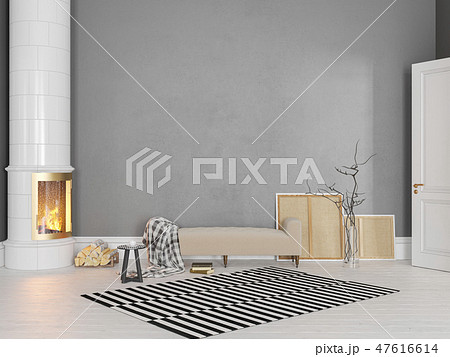 Gray scandinavian, classic interior with couch, stove, fireplace, carpet. 47616614