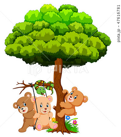 Many cute baby bears and snake playing under tree 47616781