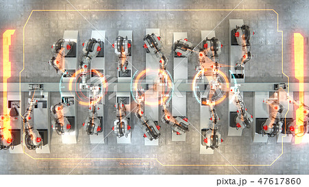 Robotic manipulators are assemble 3d printers on conveyor belt. Info Graphics show statistics of 47617860